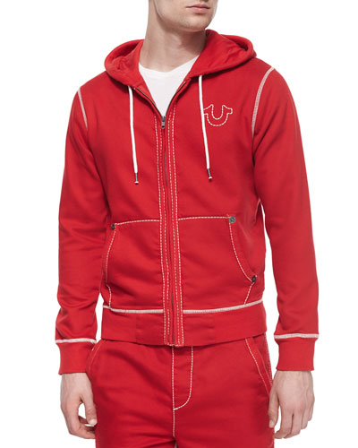 Contrast-Stitching Knit Hoodie, Red