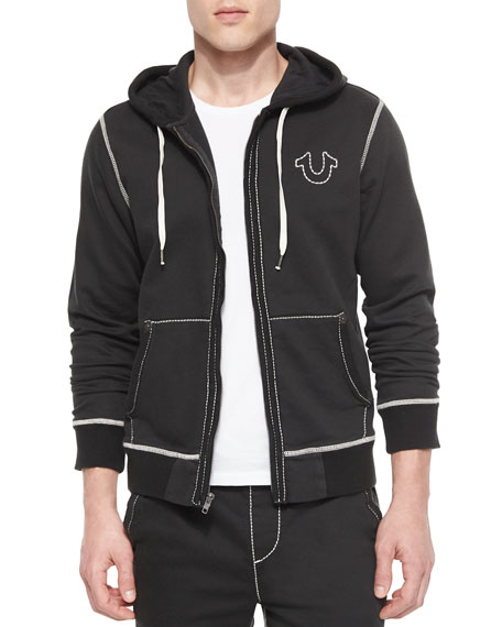 true religion contrast stitch hoodie black neiman marcus. Black Bedroom Furniture Sets. Home Design Ideas