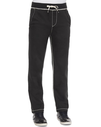 Contrast-Stitch Knit Sweatpants, Black