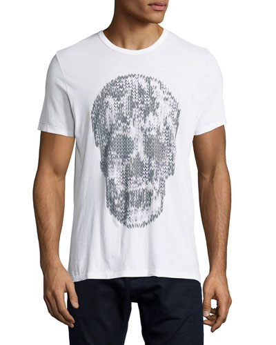 Skull Foil Short-Sleeve Graphic Tee, White