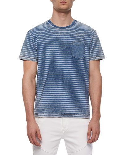 Mineral-Wash Striped Tee, Indigo
