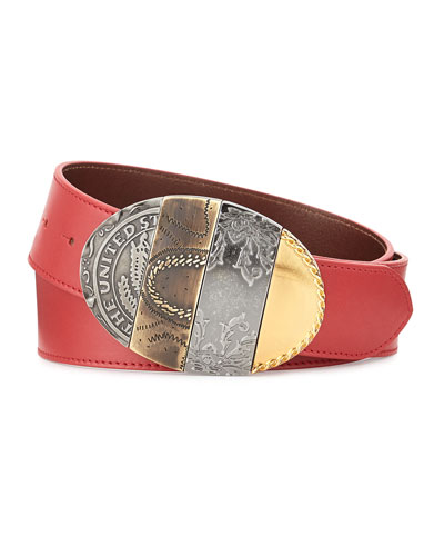 Oval Mixed-Pattern Leather Belt, Red