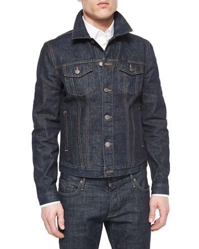 Dark Wash Denim Jacket, Blue