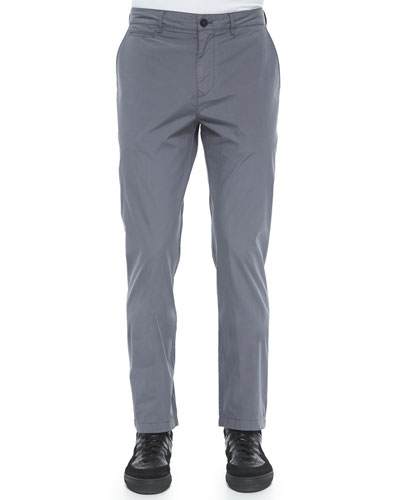 Modern-Fit Cotton Pants, Gray