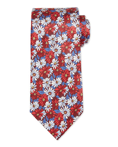 Floral Daisy-Print Tie, Red