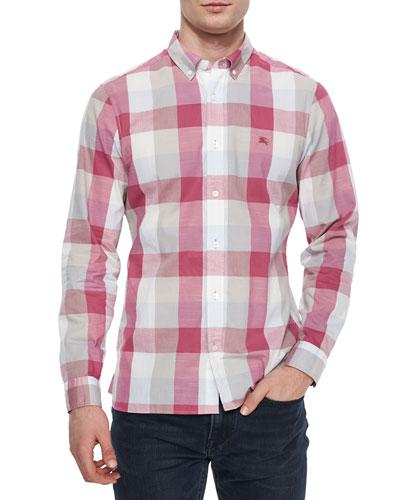 Multi Large-Check Sport Shirt, Fuchsia
