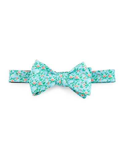 Floral-Print Cotton Bow Tie, Aqua