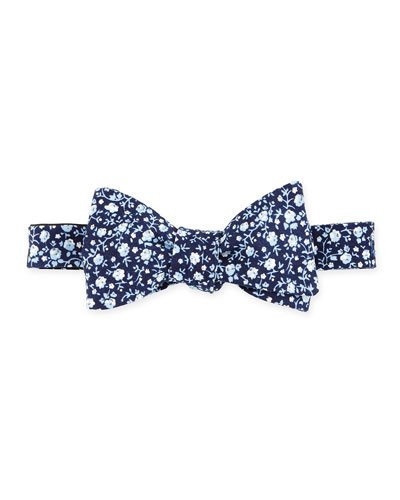 Floral-Print Cotton Bow Tie, Navy