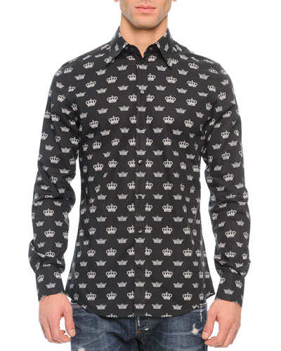 Allover Crown Print Button-Down Shirt, Black/White