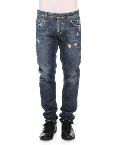 Medium-Wash Distressed Denim Jeans, Blue