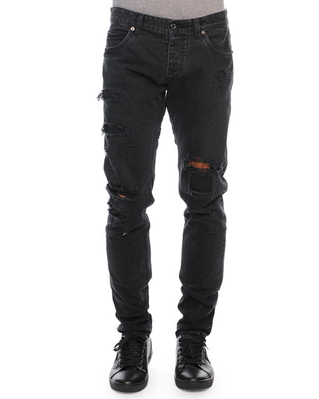 Dolce & Gabbana Destroyed Denim Jeans, Black