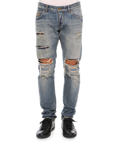 Super Destroyed Light Wash Denim Jeans, Light Blue