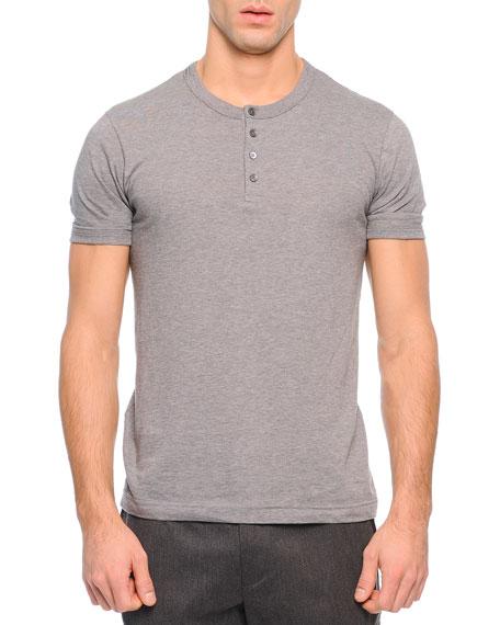 Dolce & Gabbana Short-Sleeve Knit Henley T-Shirt, Gray