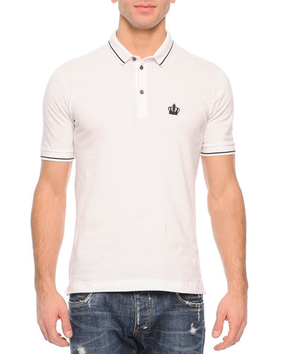 Tipped Polo Shirt, White