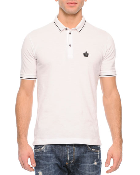 Dolce & Gabbana Tipped Polo Shirt, White
