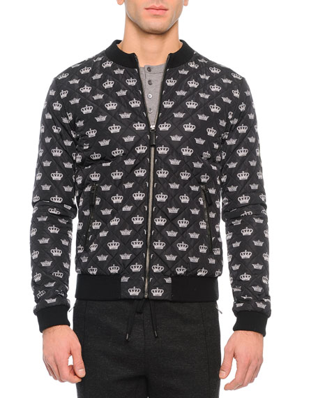 Dolce & Gabbana Crown-Print Quilted Zip Jacket, Black/White