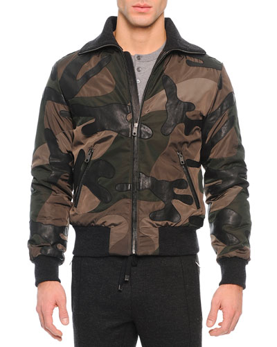 Leather/Nylon Patch Bomber Jacket, Green Military