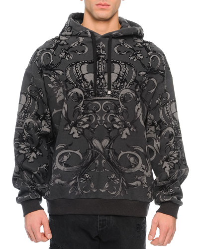 Flocked Crown-Graphic Hoodie, Gray