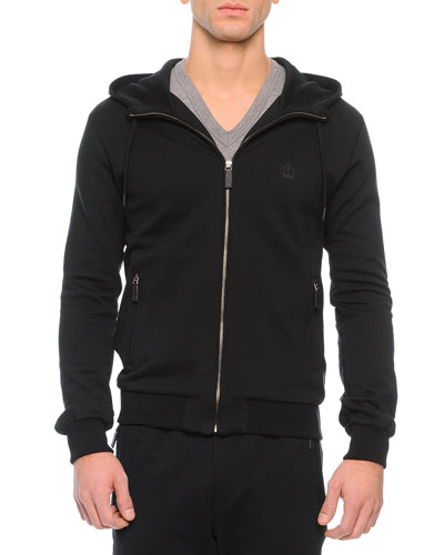 Zip-Front Hoodie with Crown Patch, Black