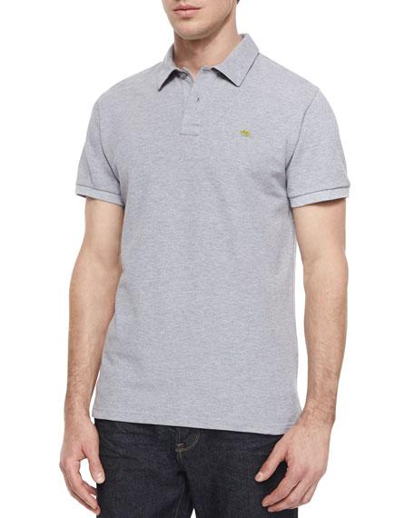 Etro Short-Sleeve Pique Polo Shirt, Gray