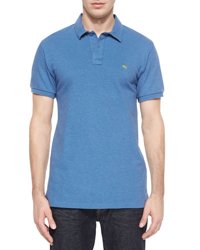 Short-Sleeve Pique Polo Shirt, Blue