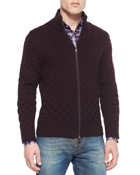 Etro Wool Cable-Knit Full-Zip Cardigan, Burgundy