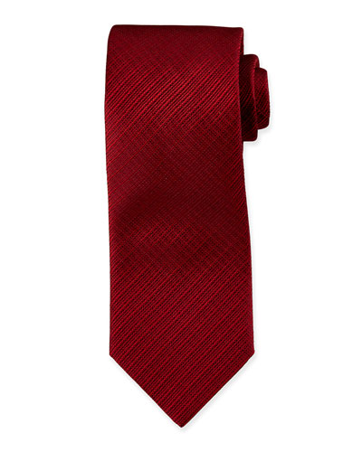 Tonal Plaid Silk Tie, Bordeaux