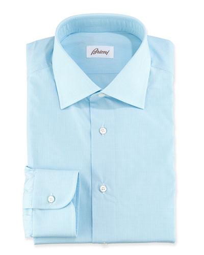 Micro-Check Cotton Dress Shirt, Aqua