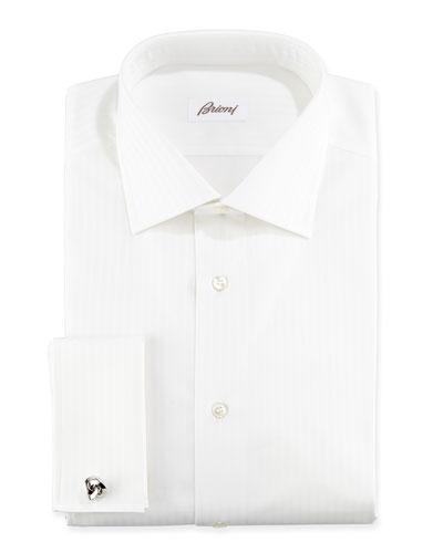Raised Stripe French Cuff Dress Shirt, White on White