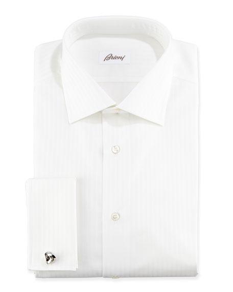 Brioni Raised Stripe French Cuff Dress Shirt, White