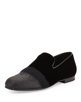 Sloane Men's Glittered Velvet Smoking Slipper, Black