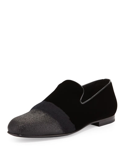 Sloane Men's Glittered Velvet Smoking Slipper, Black