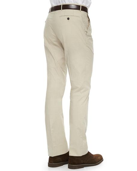 Burberry London Tailored Cotton Trousers, Khaki