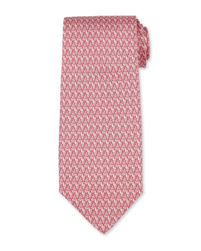 Leaf-Print Silk Tie, Pink