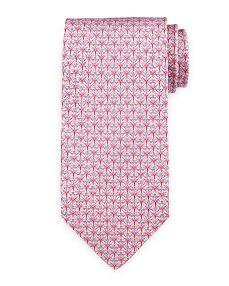 Salvatore Ferragamo Butterfly-Print Silk Tie, Pink