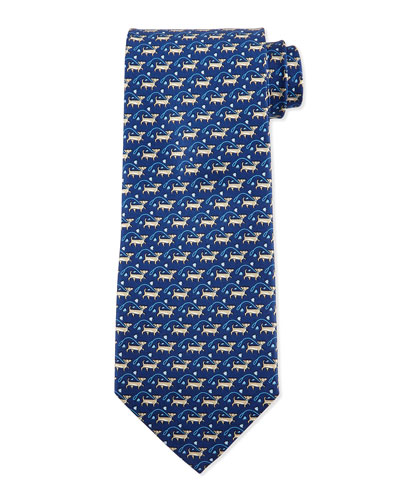 Dog-Print Silk Tie, Blue