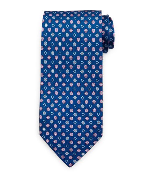 Salvatore Ferragamo Gancini Flower Silk Tie, Blue/Pink