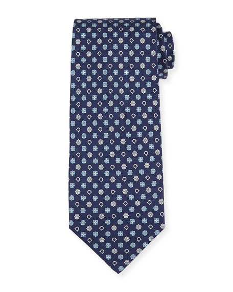 Salvatore Ferragamo Gancini Flower Silk Tie, Blue/Gray
