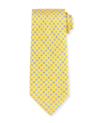 Gancini Flower Silk Tie, Yellow/Blue