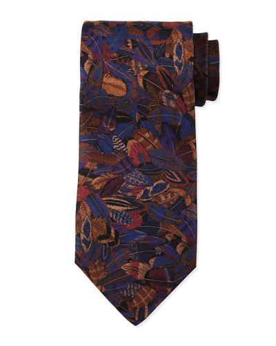 Plume-Print Silk Tie, Violet