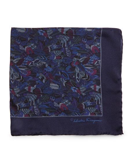 Salvatore Ferragamo Plume-Print Silk Pocket Square, Blue