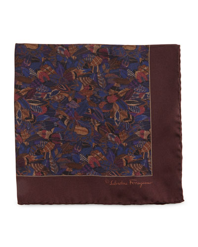 Plume-Print Silk Pocket Square, Violet