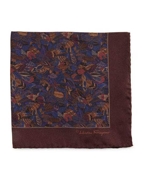 Salvatore Ferragamo Plume-Print Silk Pocket Square, Violet
