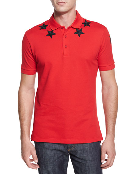 Givenchy Star-Print Knit Polo Shirt, Red