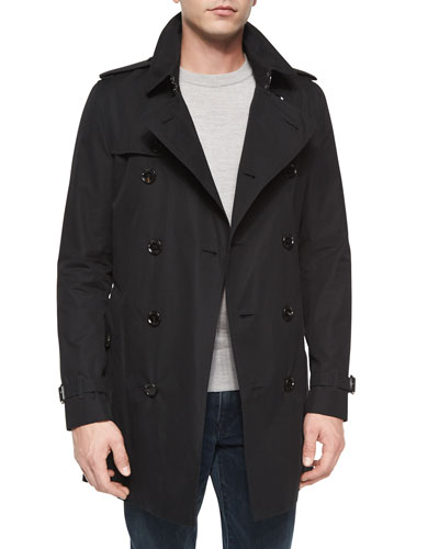 Double-Breasted Long Trenchcoat, Black