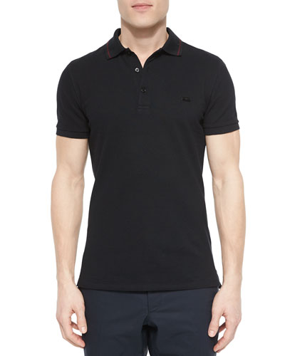 Tipped Pique Polo Shirt, Black