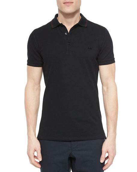 Burberry London Tipped Pique Polo Shirt, Black