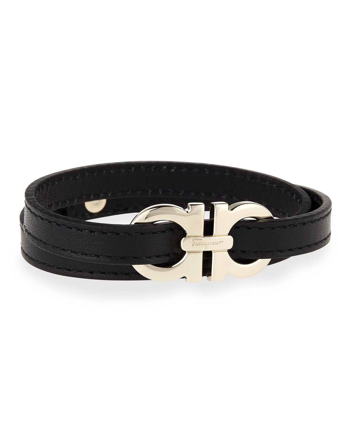 Men S Gancini Leather Wrap Bracelet Black