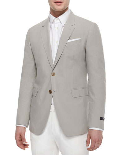 Two-Button Cotton Sport Jacket, Tan