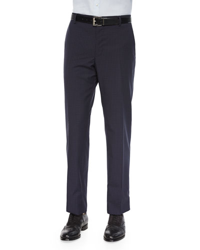 Mini-Check Wool Trousers, Navy